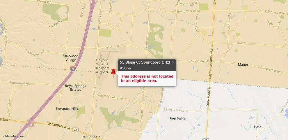 USDA Loan Eligiblity Maps From - Springboro, OH