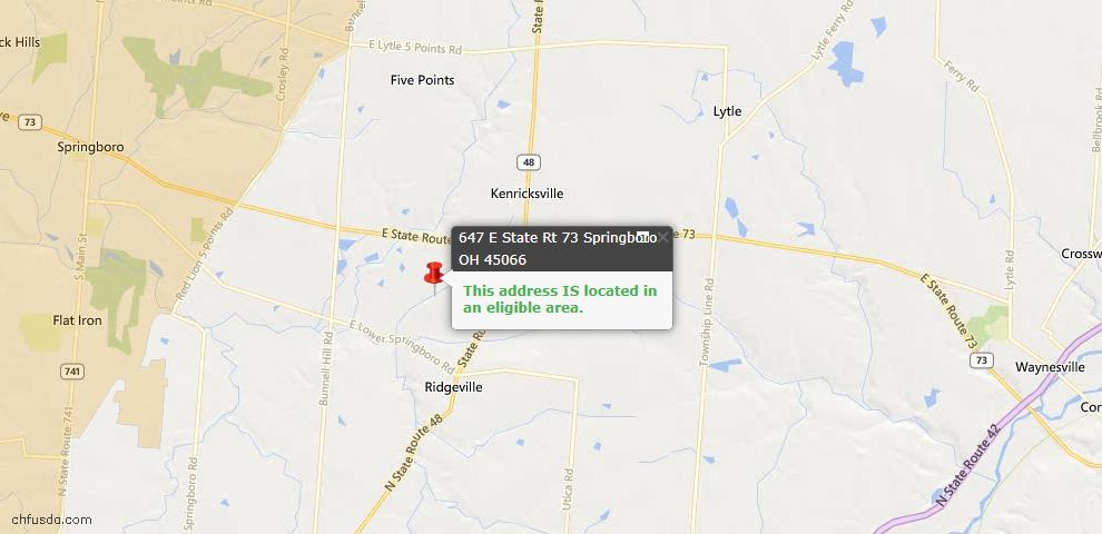 USDA Loan Eligiblity Maps From - Clearcreek Twp., OH
