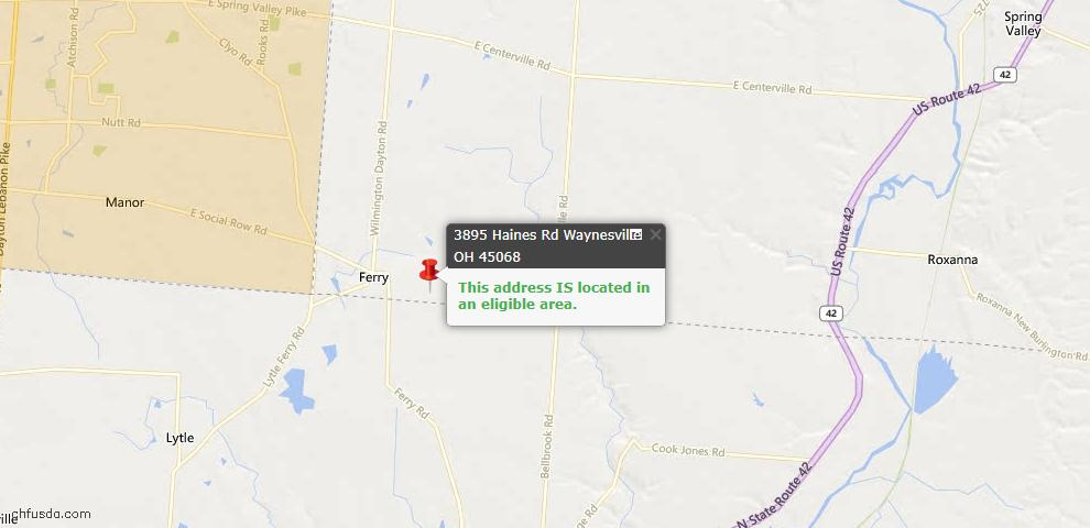 USDA Loan Eligiblity Maps From - Waynesville, OH