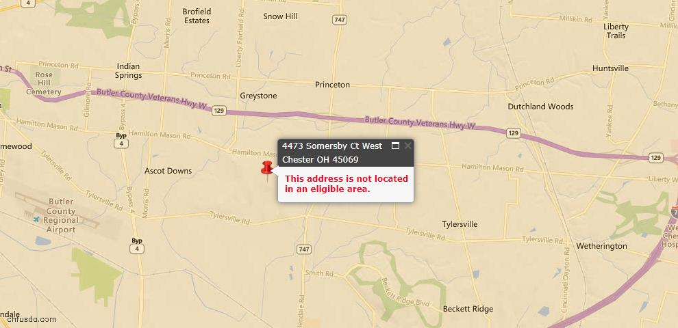 USDA Loan Eligiblity Map - 4473 Somersby Ct, West Chester, OH 45069