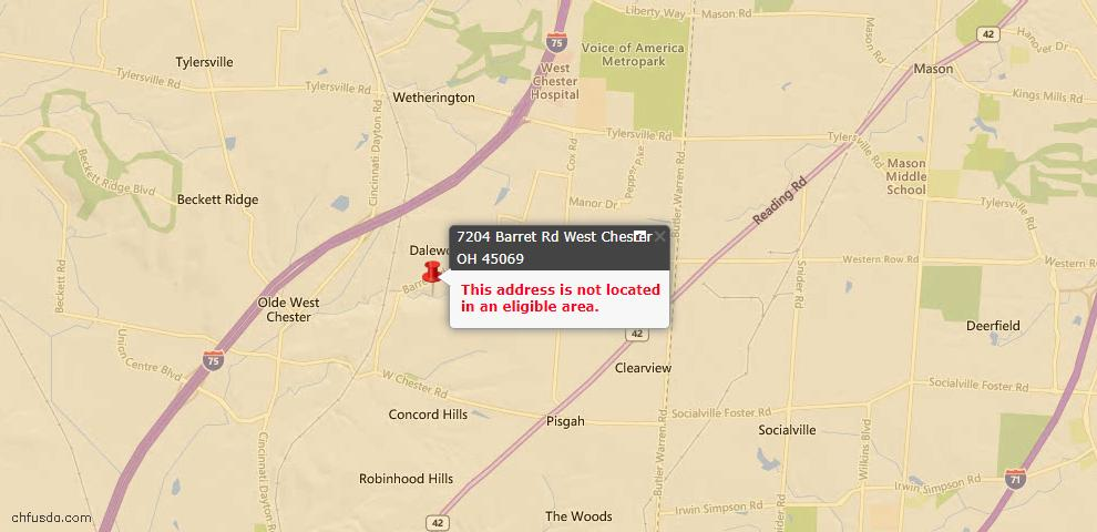 USDA Loan Eligiblity Maps From - Butler County, OH