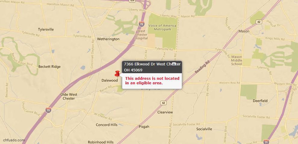 USDA Loan Eligiblity Map - 7366 Elkwood Dr, West Chester, OH 45069