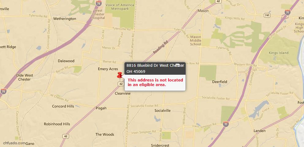 USDA Loan Eligiblity Maps From - 45069, OH