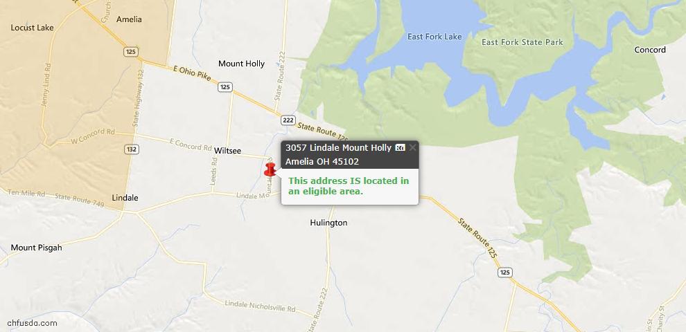 USDA Loan Eligiblity Maps From - Amelia, OH
