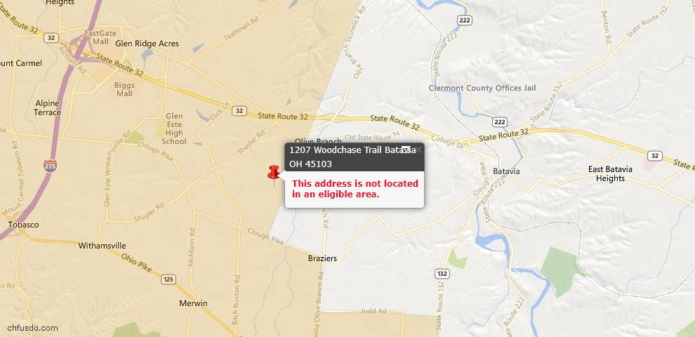 USDA Loan Eligiblity Maps From - Clermont County, OH
