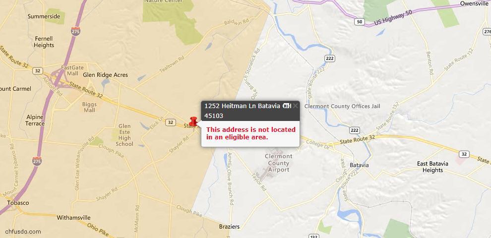 USDA Loan Eligiblity Maps From - Batavia, OH
