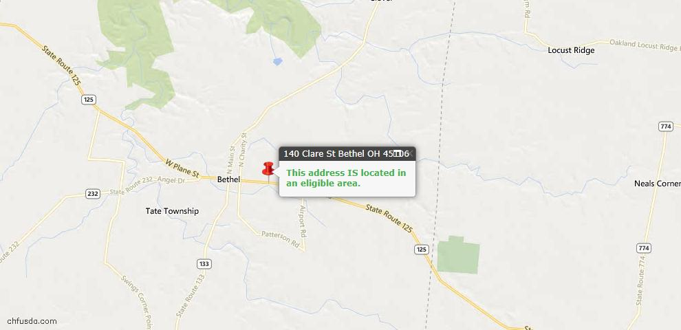 USDA Loan Eligiblity Maps From - Bethel, OH