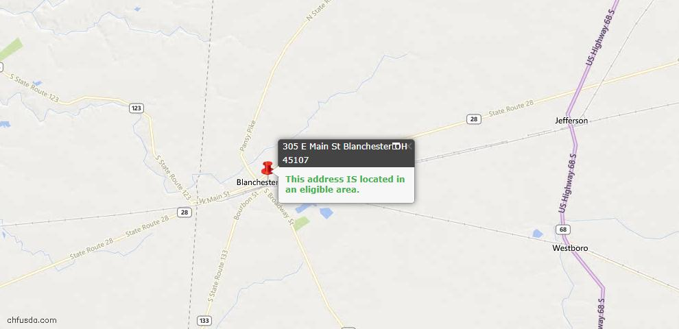 USDA Loan Eligiblity Maps From - Blanchester, OH
