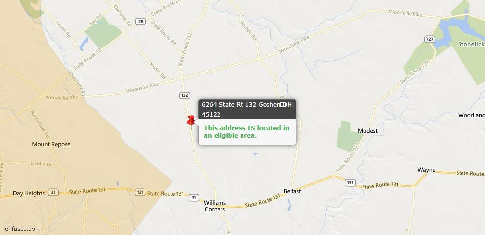 USDA Loan Eligiblity Maps From - Goshen Twp, OH