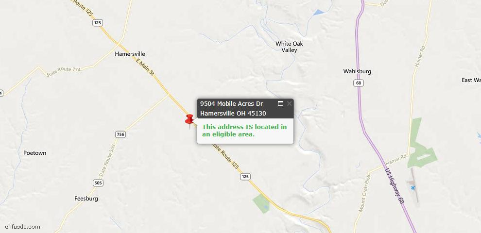 USDA Loan Eligiblity Maps From - Hamersville, OH