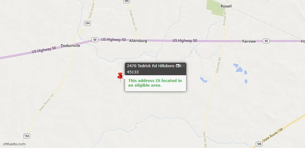 USDA Loan Eligiblity Maps From - Dodson Twp, OH