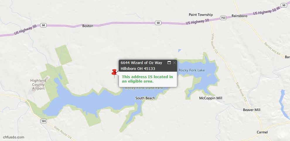 USDA Loan Eligiblity Maps From - Hillsboro, OH