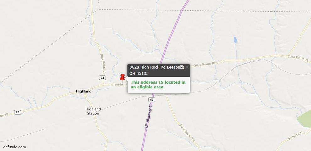 USDA Loan Eligiblity Maps From - Leesburg, OH