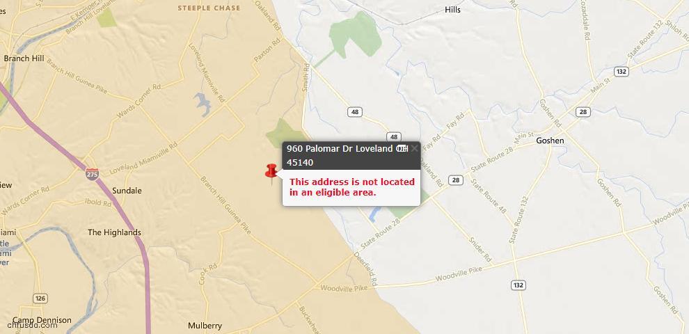 USDA Loan Eligiblity Maps From - Loveland, OH