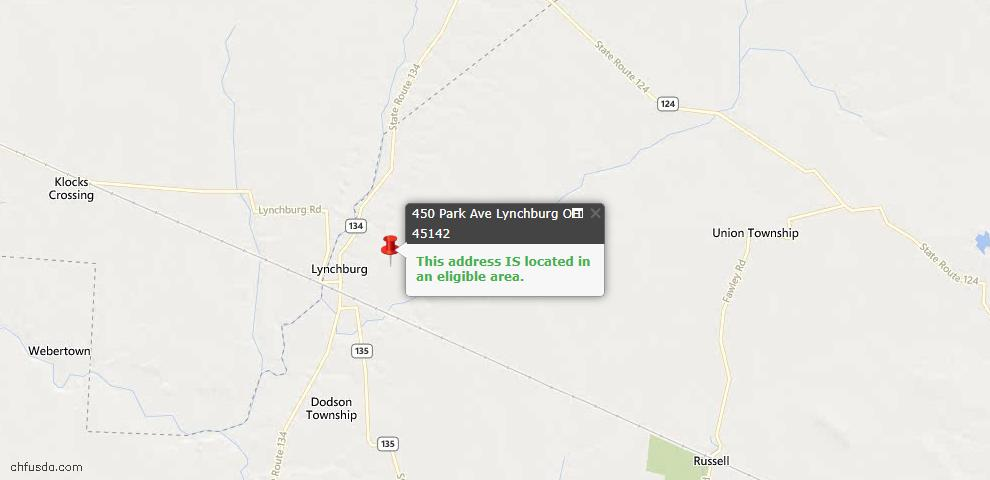 USDA Loan Eligiblity Maps From - Lynchburg, OH