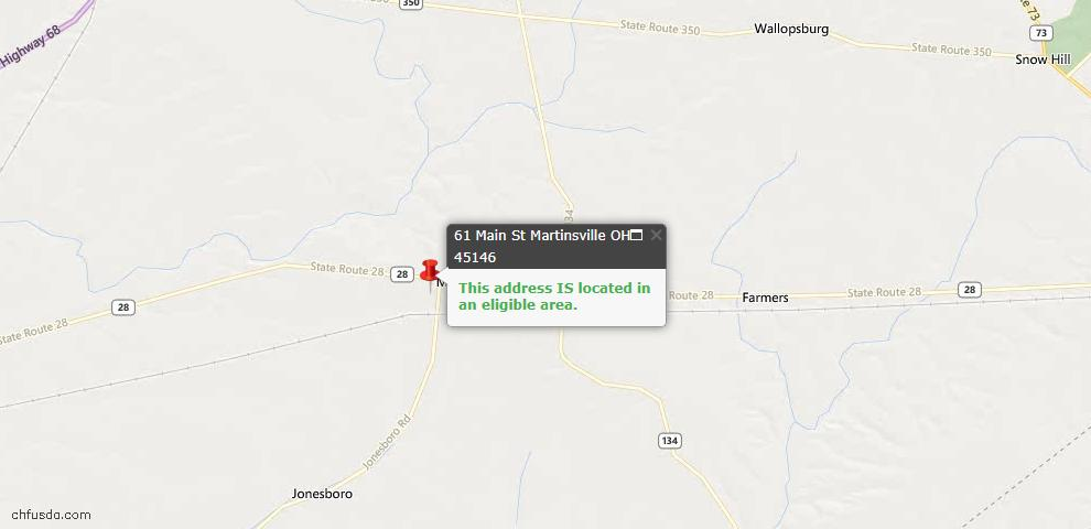 USDA Loan Eligiblity Maps From - Martinsville, OH