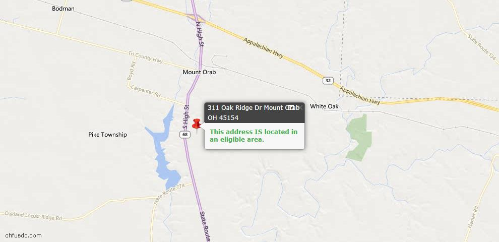 USDA Loan Eligiblity Maps From - Mt Orab, OH