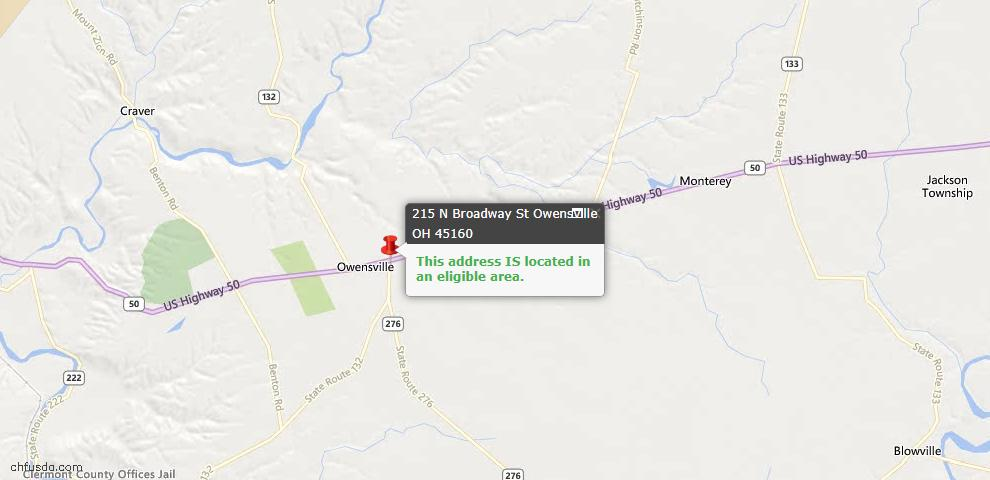 USDA Loan Eligiblity Maps From - Owensville, OH