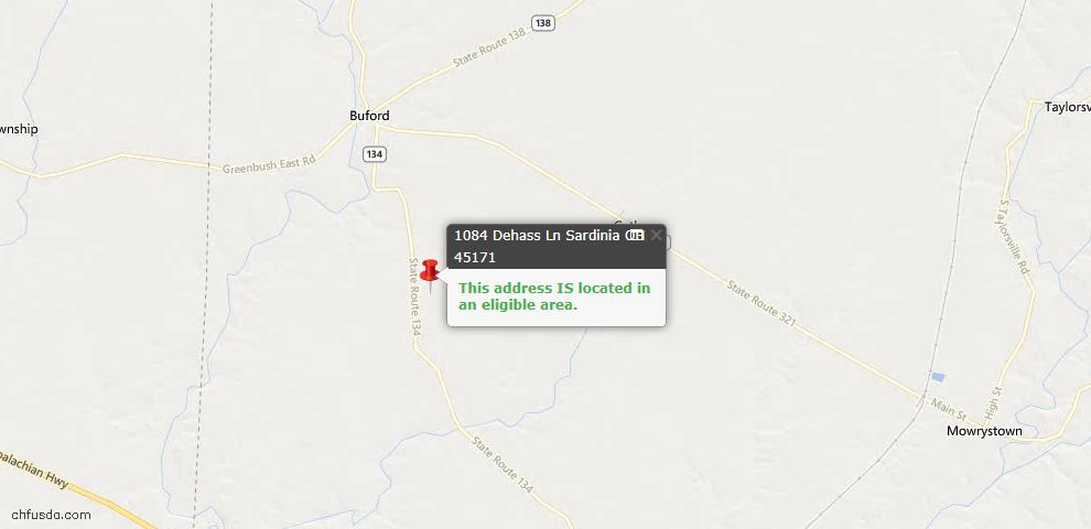 USDA Loan Eligiblity Maps From - Highland County, OH