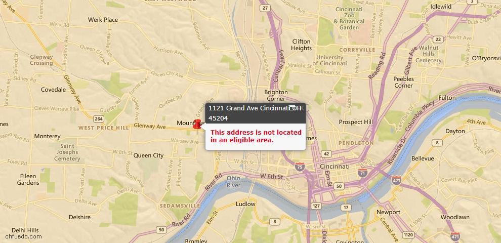 USDA Loan Eligiblity Map - 1121 Grand Ave, Cincinnati, OH 45204