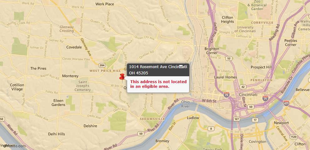 USDA Loan Eligiblity Map - 1014 Rosemont Ave, Cincinnati, OH 45205