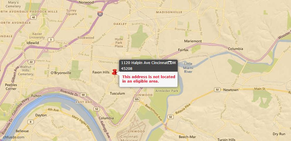 USDA Loan Eligiblity Map - 1120 Halpin Ave, Cincinnati, OH 45208