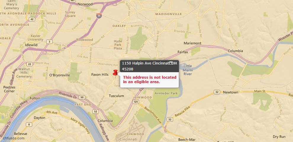 USDA Loan Eligiblity Map - 1150 Halpin Ave, Cincinnati, OH 45208