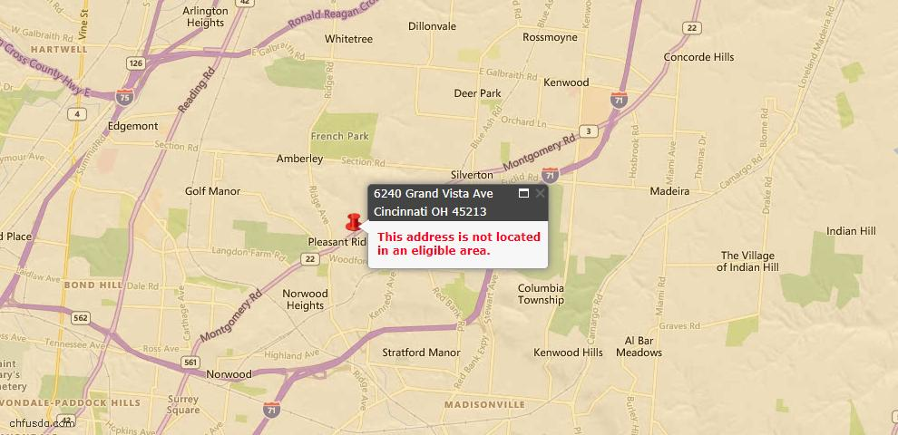 USDA Loan Eligiblity Maps From - 45213, OH