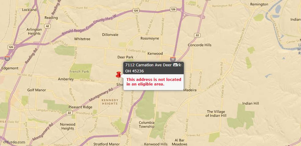 USDA Loan Eligiblity Maps From - Deer Park, OH