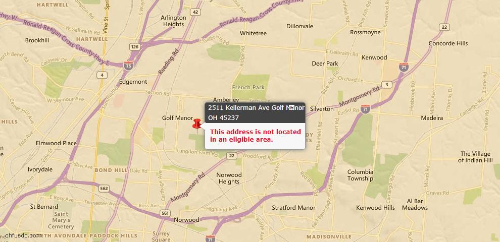 USDA Loan Eligiblity Maps From - Golf Manor, OH