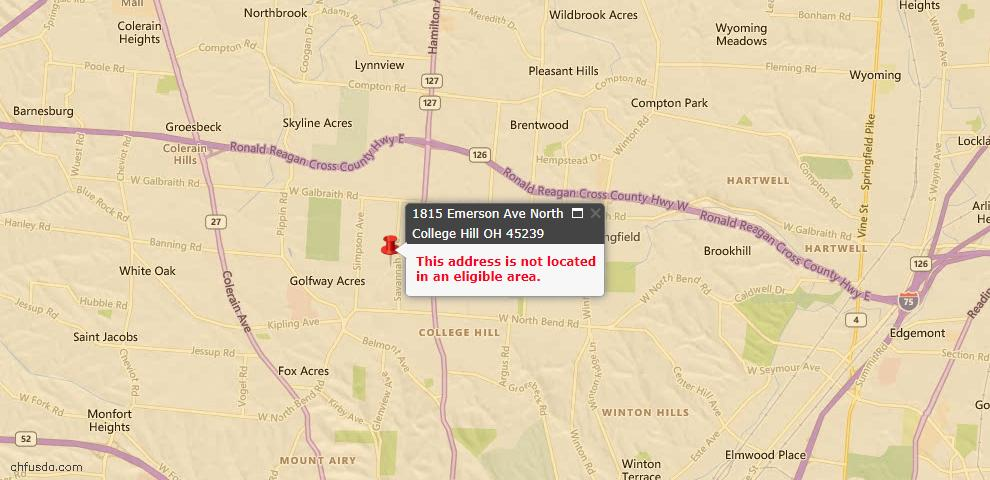 USDA Loan Eligiblity Maps From - North College Hill, OH