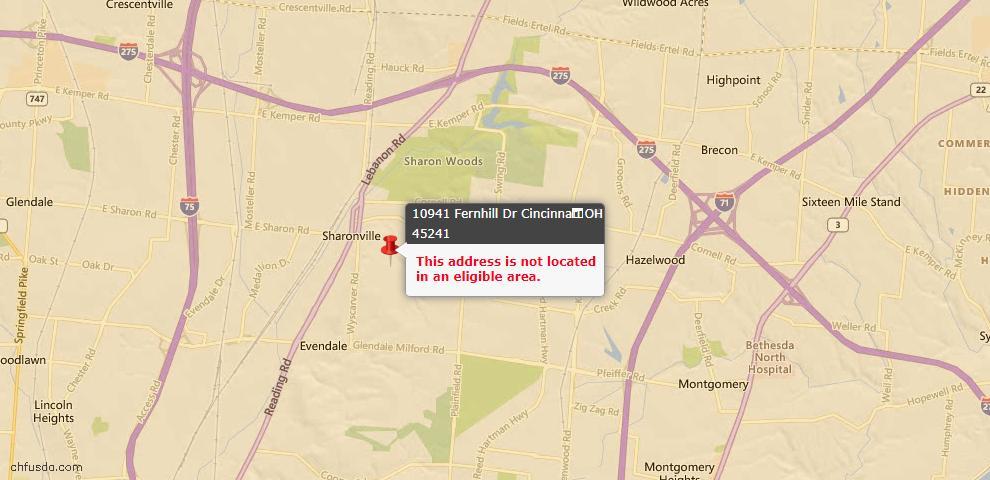 USDA Loan Eligiblity Map - 10941 Fernhill Dr, Cincinnati, OH 45241