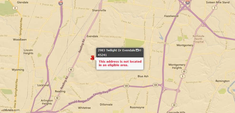 USDA Loan Eligiblity Maps From - Evendale, OH