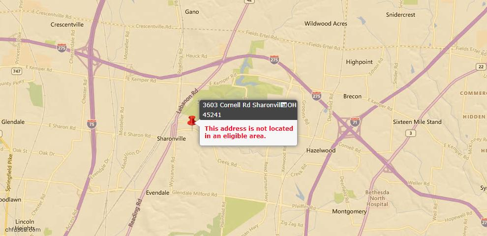 USDA Loan Eligiblity Maps From - Sharonville, OH