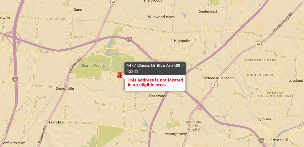 USDA Loan Eligiblity Maps From - Blue Ash, OH