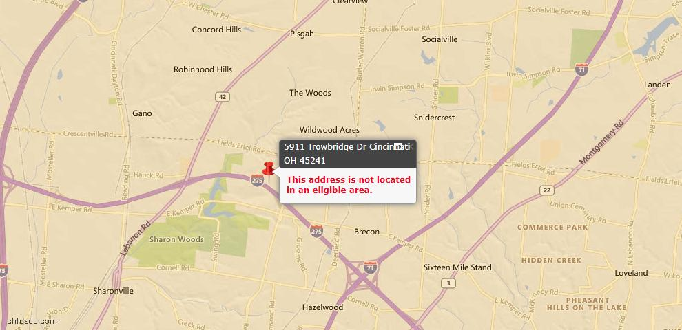 USDA Loan Eligiblity Maps From - Sycamore Twp, OH