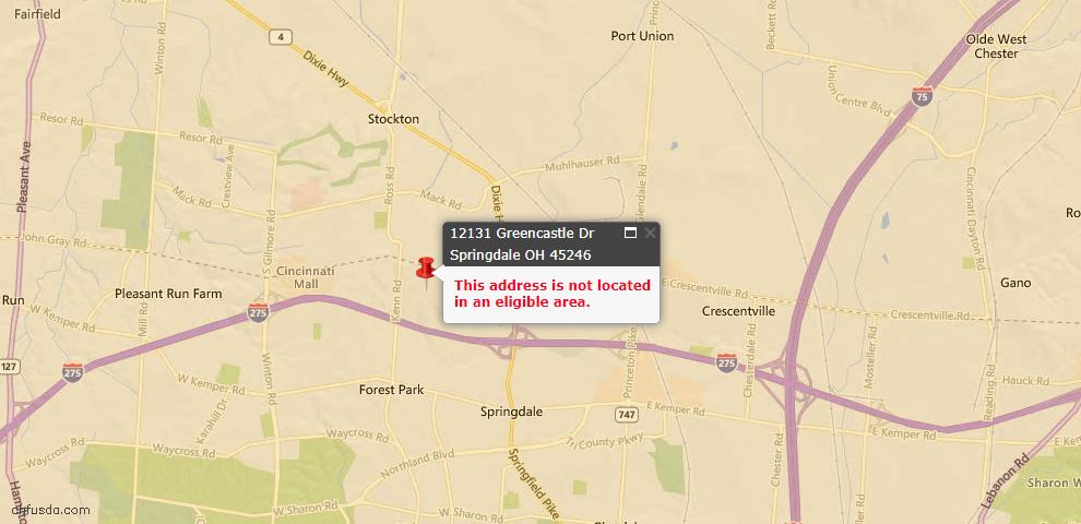 USDA Loan Eligiblity Maps From - Springdale, OH