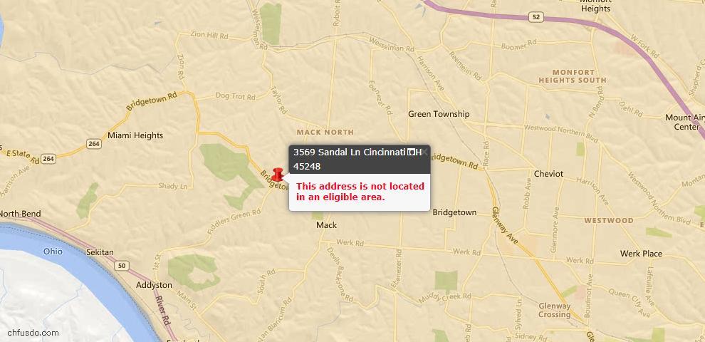 USDA Loan Eligiblity Maps From - Cincinnati, OH