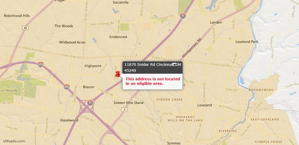 USDA Loan Eligiblity Maps From - 45249, OH