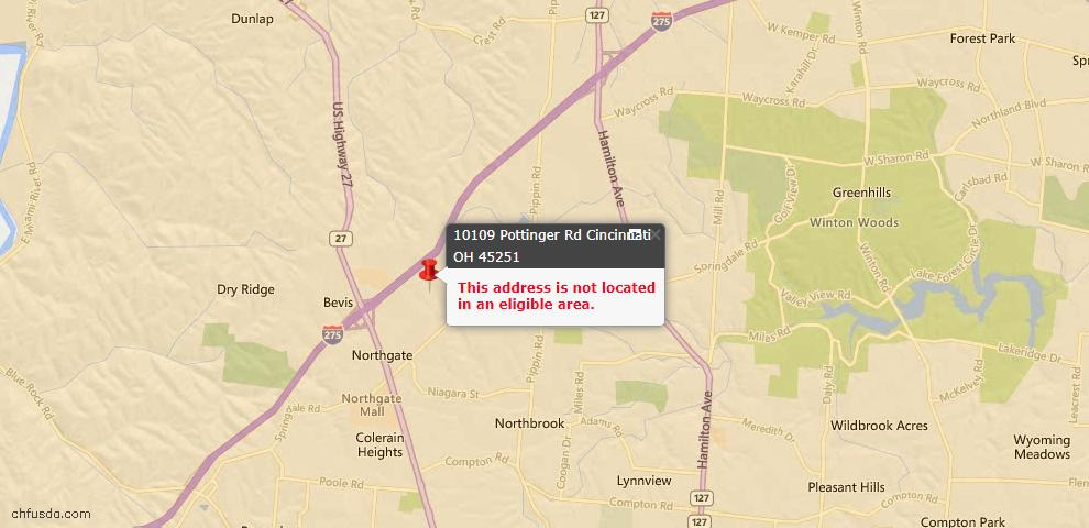 USDA Loan Eligiblity Map - 10109 Pottinger Rd, Colerain Twp, OH 45251