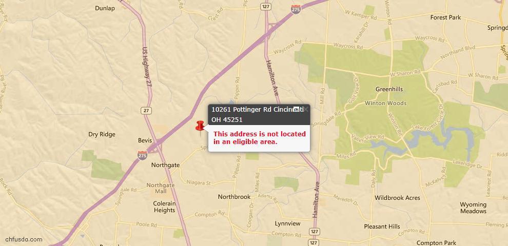 USDA Loan Eligiblity Map - 10261 Pottinger Rd, Colerain Twp, OH 45251