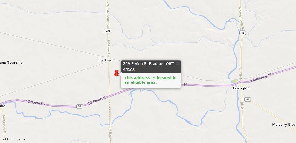 USDA Loan Eligiblity Maps From - Bradford, OH