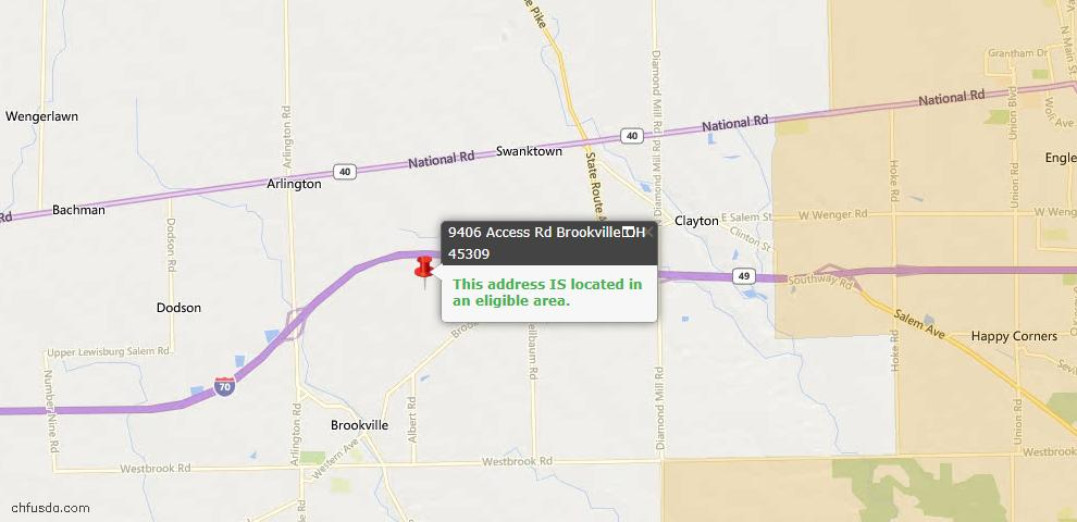 USDA Loan Eligiblity Maps From - Brookville, OH