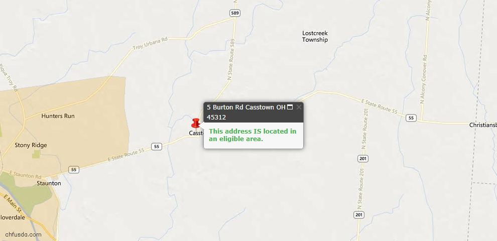 USDA Loan Eligiblity Maps From - Casstown, OH