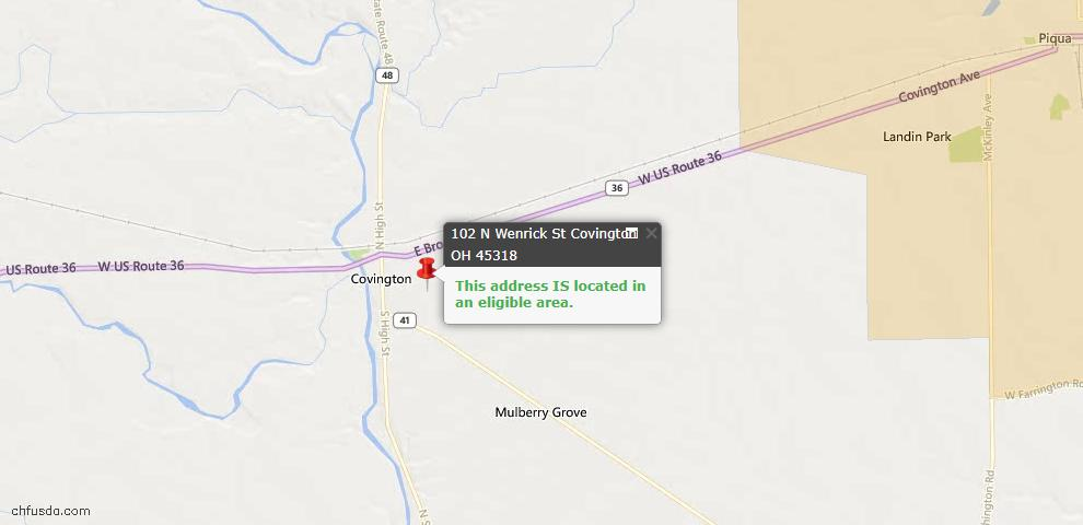 USDA Loan Eligiblity Maps From - Covington, OH