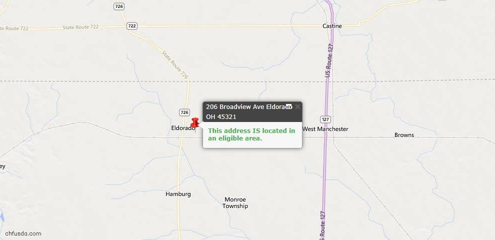 USDA Loan Eligiblity Maps From - Eldorado, OH