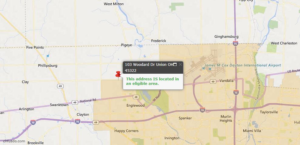 USDA Loan Eligiblity Map - 103 Woodard Dr, Union, OH 45322