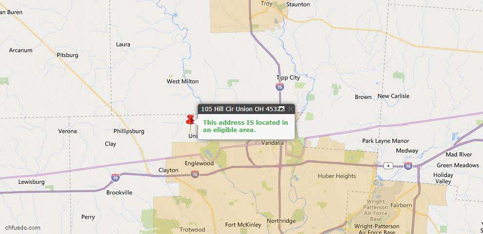USDA Loan Eligiblity Map - 105 Hill Cir, Union, OH 45322