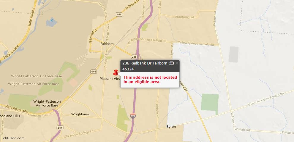 USDA Loan Eligiblity Maps From - Fairborn, OH