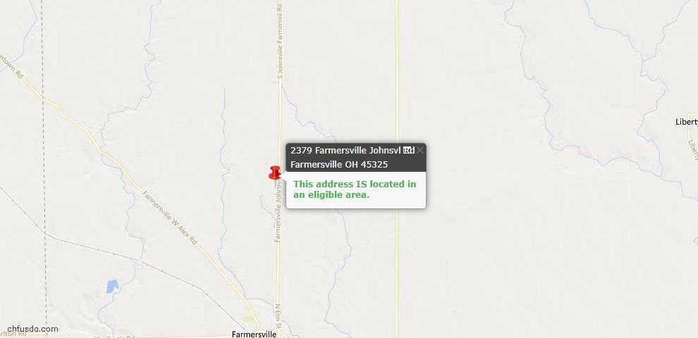 USDA Loan Eligiblity Maps From - Farmersville, OH